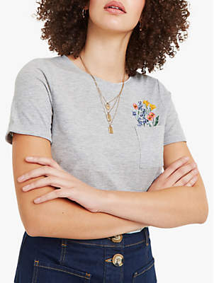Oasis Embroidered Pocket T-Shirt, Dark Grey
