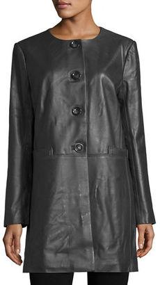 Neiman Marcus Basic Long Leather Jacket $425 thestylecure.com