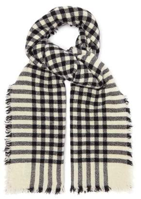 BeauFort Begg & Co. Washed Checked Scarf - Mens - Black White