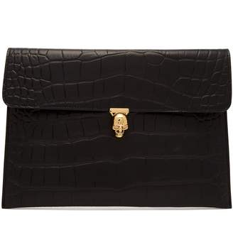 Alexander McQueen Crocodile-effect envelope clutch