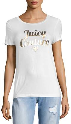 Juicy Couture Women's Metallic Logo Short Sleeve T-Shirt