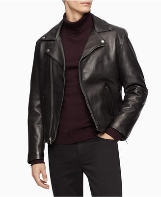 Calvin Klein Men Leather Biker Jacket