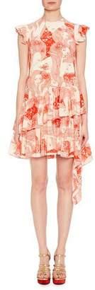 Alexander McQueen Cap-Sleeve Eve-Print Silk Dress with Asymmetric Hem
