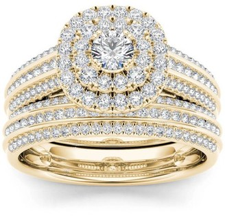 Imperial Diamond Imperial 1 Carat T.W. Diamond Double Halo 10kt Yellow Gold Engagement Ring Set