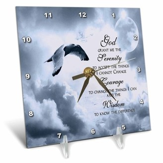 Of A Kind 3dRose The Serenity Prayer a beautiful dove one graphic will inspire all, Desk Clock, 6 by 6-inch