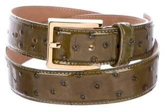 Michael Kors Patent Ostrich Belt