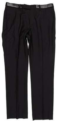 Christian Dior Leather-Accented Wool Dress Pants