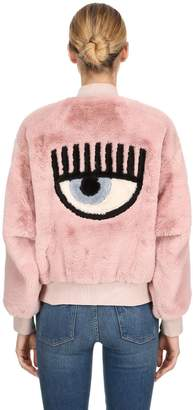 Chiara Ferragni Eye Patch Faux Fur Bomber Jacket