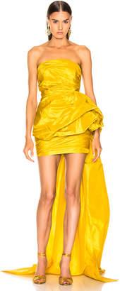 Oscar de la Renta Strapless Ruched Silk Mini Dress in Yellow | FWRD