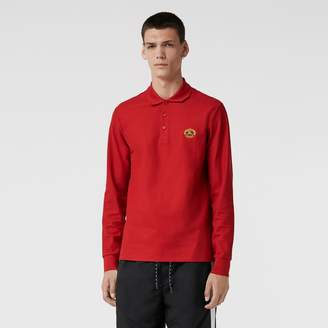 Burberry Long-sleeve Archive Logo Cotton Pique Polo Shirt, Red