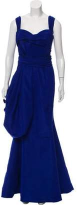 Oscar de la Renta Silk Evening Gown Blue Silk Evening Gown