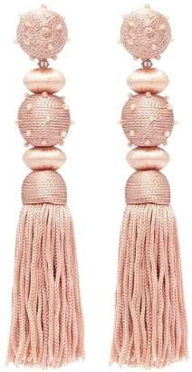 Oscar de la Renta Beaded threaded sphere silk tassel clip earrings