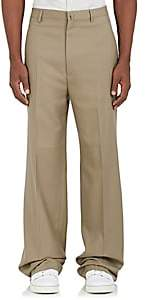 Lanvin MEN'S WOOL TWILL WIDE-LEG TROUSERS-BEIGE, TAN SIZE 48 EU