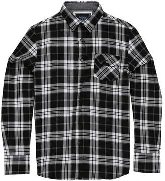 Brave Soul Mens Ivory Long Sleeve Check Shirt (M) (Black/White)