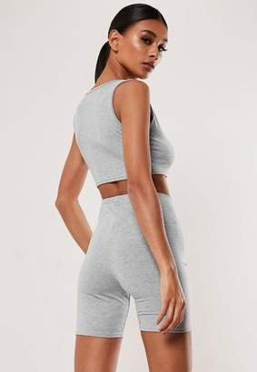 Missguided Gray Crop Top Cycling Shorts Co Ord Set