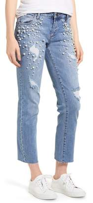 KUT from the Kloth Reese Pearl Detail Raw Edge Jeans