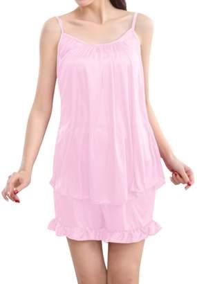 LAPAYA Women's Two Piece Sleepwear Lightweight Cami Top Ruffle Short Silky Pj Set