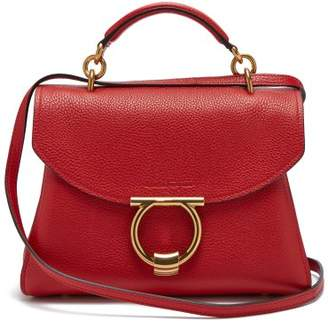 Salvatore Ferragamo Gancini Grained Leather Top Handle Bag - Womens - Red