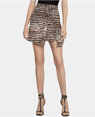 BCBGMAXAZRIA (ビーシービージーマックスアズリア) - Bcbgmaxazria Printed Wrap-Front Mini Skirt