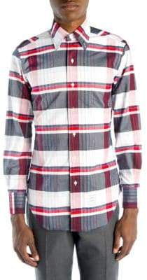 Thom Browne Variegated Check Button-Down Shirt