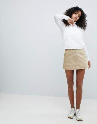 Weekday Contrast Stitch Exposed Zip Mini Skirt