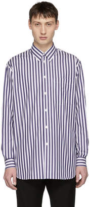 Versace White and Blue Striped Long Shirt