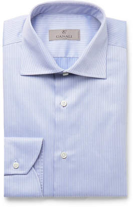 Canali Light-Blue Micro-Herringbone Cotton Shirt - Men - Blue