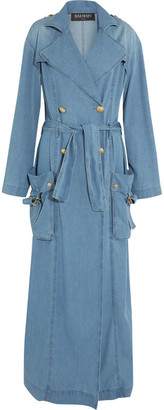 Double-breasted Denim Trench Coat - Light denim