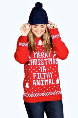 boohoo Plus Ivy Filthy Animal Xmas Jumper