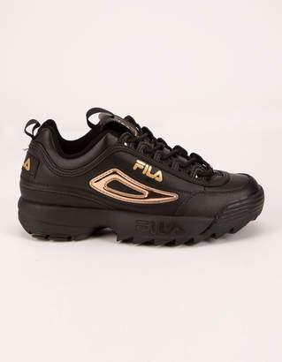 Fila Disruptor 2 Metallic Accent Black & Gold Womens Shoes