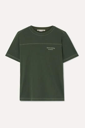 Acne Studios Ewanda Embroidered Cotton-jersey T-shirt - Army green