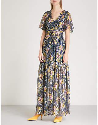 BA&SH Jessy floral-print metallic-woven maxi dress