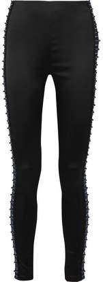 Koché - Embellished Stretch-satin Leggings - Black