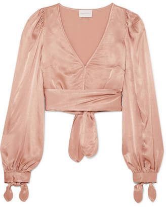 Alice McCall I Like That Cropped Satin Top - Sand