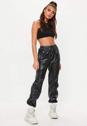 Missguided Petite Black Toggle Shell Suit Pants