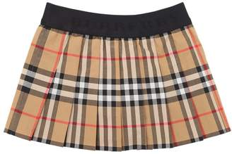 Burberry Check Cotton Pleated Skirt
