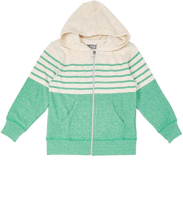 Oatmeal & Green Stripe Zip-Up Hoodie – Toddler & Boys