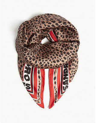 Sandro Leopard logo silk scarf