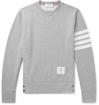 Thom Browne Slim-fit Striped Loopback Cotton-jersey Sweatshirt - Gray