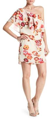 Haute Hippie One Shoulder Floral Print Ruffle Dress