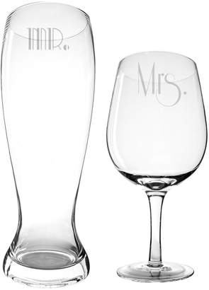 Cathy's Concepts Cathys Concepts Mr. & Mrs. Gatsby Xl Beer & Wine Glass Set