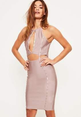 Missguided Purple Bandage Keyhole Ring Detail Midi Dress