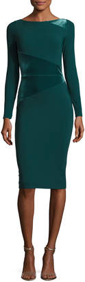 Chiara Boni Miska Long-Sleeve Sheath Cocktail Dress w/ Velvet Insert