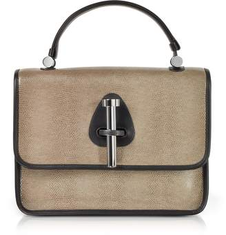 Rodo Taupe Lizard Embossed Leather Satchel Bag