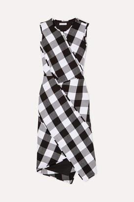 Altuzarra Gina Gingham Wool-blend Twill Dress - Black