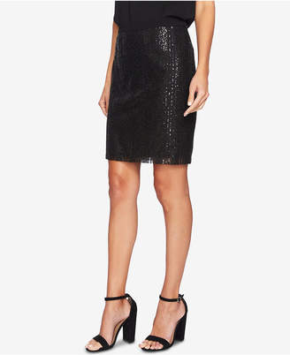 CeCe Sequin-Striped Pencil Skirt