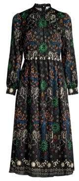 Sandro Grassette Folk-Print Midi Dress