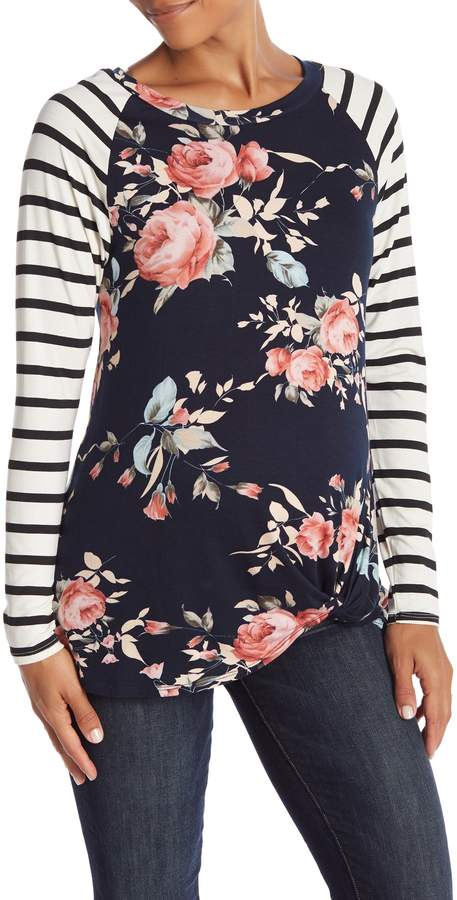 PinkBlush Maternity Floral Striped Sleeve Knot Top (Maternity)