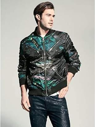 GUESS Men's Long Sleeve Kennith Chaos Print Jacket Collage Black/Multi