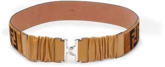 Fendi Logo Shearling And Leather Belt - Womens - Brown